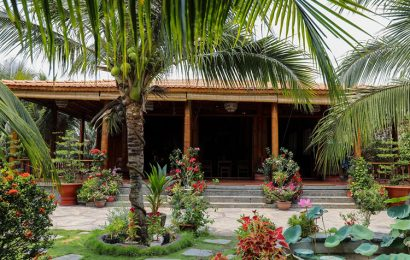A homestay in Mekong Delta is distinctive with all made of coconut wood