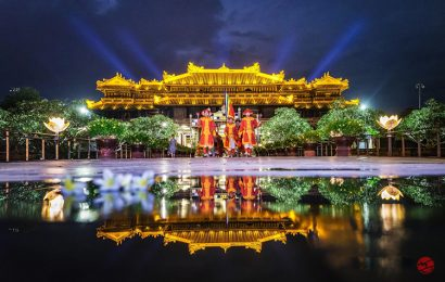 Ancient town Hue gorgeous when the lights are turned on at night