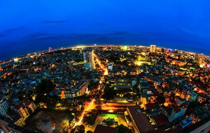 View from above the beautiful scenes of Vietnam at night