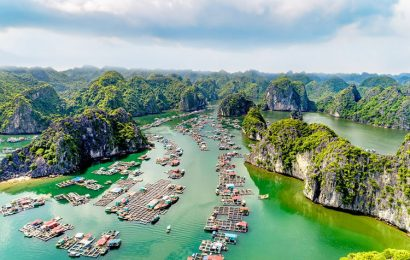 A set of aerial photographs highlight the stunning beauty of Lan Ha Bay