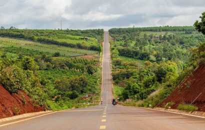 A road in the Central Highlands province of Gia Lai approaching skyline